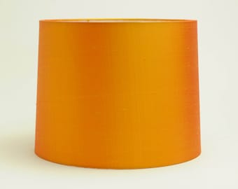Lamp shade, flame orange shantung silk tapered drum