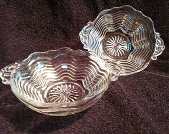 Vintage Clear Glass with Swirl Pattern Candy Dish - Set of 2