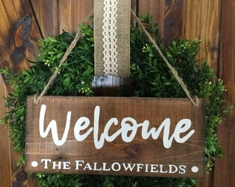 Personalized Rustic Welcome Sign