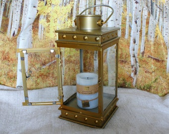 Large Vintage Rustic Lantern, Metal and Glass, Gold Painted, Hanging