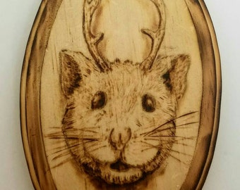 Hampster with antlers woodburning