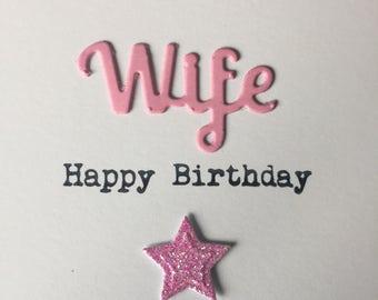 Wife Happy Birthday card. Handmade. Wife. Star.