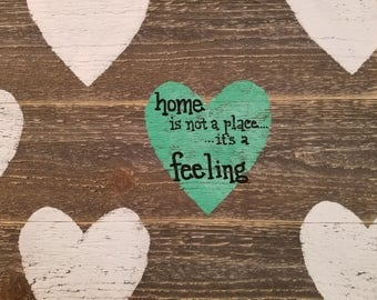 Home heart wood sign