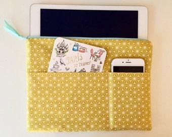 IPad bag, iPad sleeve for Apple iPad Air, iPad Air 2, iPad Pro, mustard, mint zipper