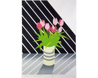 """Serigraph Limited Edition Print. Vase of tulips 'Time to Reflect' edition 139/300 .Indistinctly signed 25"""" x 16"""" (64.5cm x 40.7cm)1920's"""