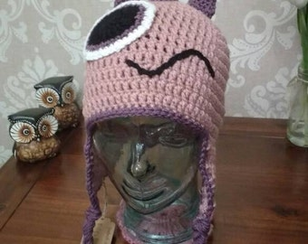 Crochet pink monster hat size teen/ small adult