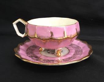 Antique Vintage LM Lipper Mann Royal Halsey Pink Lusterware Pink Tea Cup & Saucer