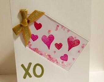 XO (hugs and kisses) shaker card