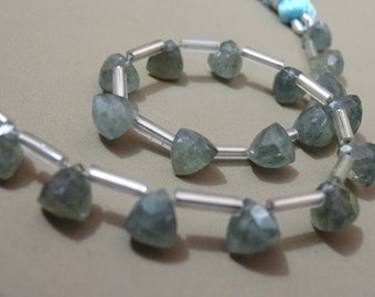 """AAA Grade  MOSS AQUAMARINE Faceted Briolette Trillion beads,Side Drilled, Size 6 mm, 6"""" Strand, Faceted Trillions, Super item for Jewellery"""