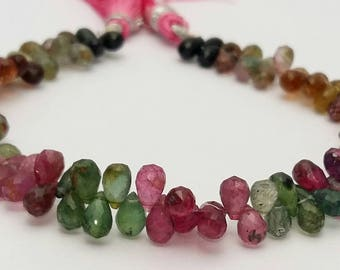"1 strand Natural Multi TOURMALINE faceted drops shaped beads ,4x5 mm -- 4x7 mm ,8""strand[E0665] Tourmaline beads"