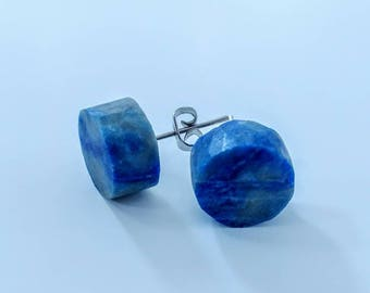 Upcycled Lapis lazuli round studs