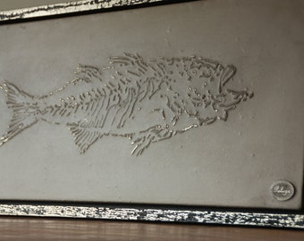 Painting-wall panel with an image of a fossil fish