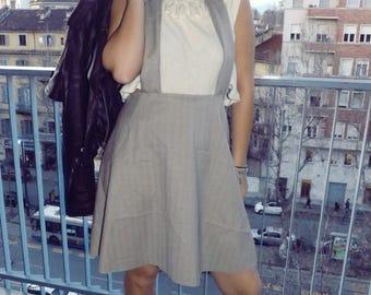DUNGAREE skirt in beige