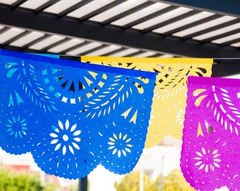Flowers papel picado banner