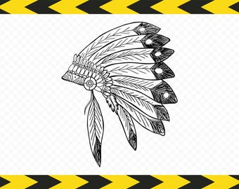 Indian headdress SVG Hand drawn Clipart Dxf Pdf Png