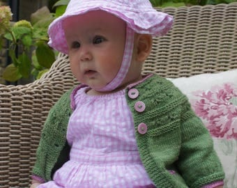 MEADOW SWEET. PDF knitting pattern for a baby cardigan featuring simple embroidery detail.