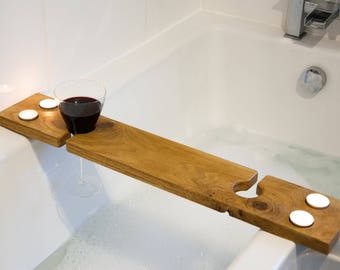 His & Hers Solid Wood Bath Caddy