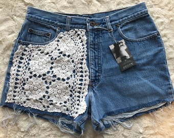 Denim shorts with vintage crochet front (some 1/2 front, others are full front - depending on size ordered
