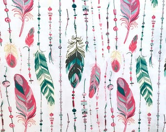 Half meter (0,55yd) feather fabric, boho feather fabric, feathers fabric, dreamcatcher fabric, colorful feather fabric