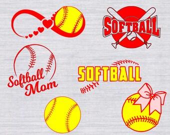 Softball SVG Bundle, Softball svg, softball clipart, softball mom svg, softball with bow svg, svg files for silhouette, cricut, dxf, png,