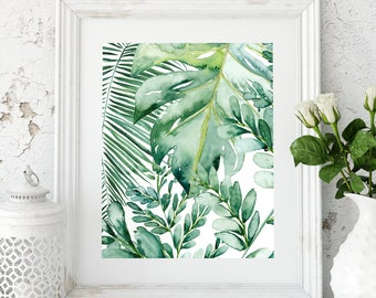 Banana Leaf Wall Art, Banana Leaf Decor, Palm Leaf Art Print, Palm Leaf