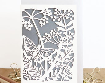 Spring Garden card, Butterfly papercut card, Butterfly card, Birthday papercut card, Hello card, Just to say Papercut Card