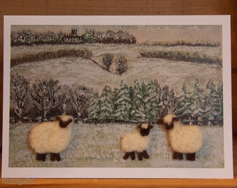 Stow-on-the-Wold Winter Flock, Felted Wool, Sheep, Lamb, Rural Scene, Gift, Art Card