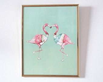 Illustration poster - flamingos in love