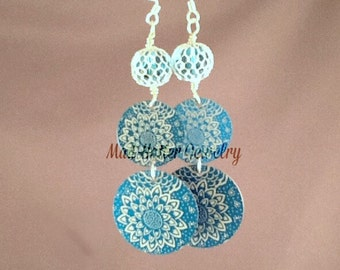 Blue Etched Aluminum Earrings