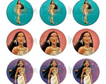 "INSTANT DOWNLOAD Princess Pocahontas Bottle Cap Image Sheet | Digital Image Sheet | 4""x6"" Sheet with 15 Images"