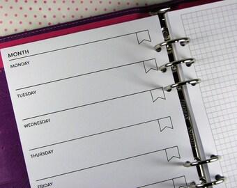 Weekly Undated Planner Inserts, Week On 1 Page with Grid, Printed Planner Inserts A5, WO1P, Undated Horizontal, Planner Refills, UK, #HSU26