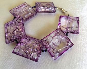 Purple Bracelet, Handmade,  Glass Beads Bracelet, Birthday Gift,  A gift for Her, Everyday Ornament