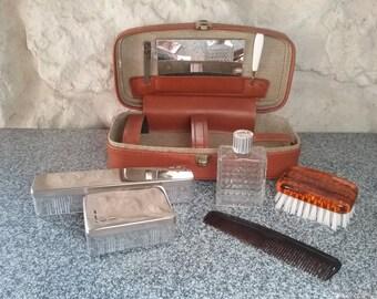 Old Vintage French, Vanity box retro travel toilet set, unisex toilet Kit