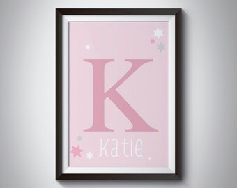 Personalised Name Initial Print, Nursery Print, Nursery Wall Art, New Born Gift, Kids Wall Art, Room Decor