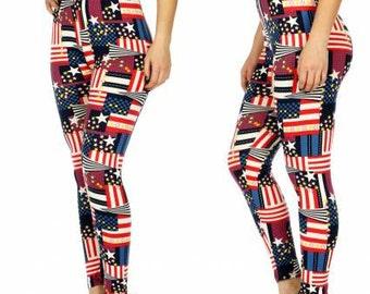 American Flag Leggings Stars and Stripes Leggings Patriotic Leggings Fourth of July Leggings American Flag Yoga Leggings FREE U.S. SHIPPING