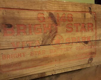 Vintage Bright Star Battery Crate