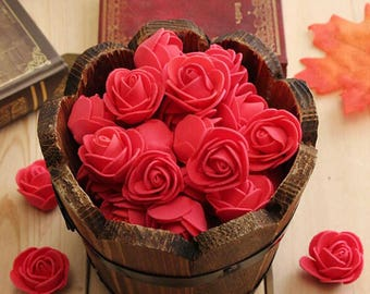 100 Pcs Mini Artificial Rose Heads - Orange Red