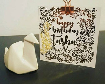 Personalised gold foil birthday card