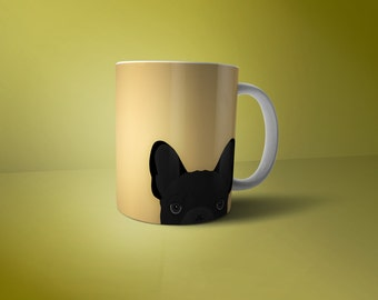 French Bulldog Mug Personalised - Peeping Black Frenchie - Available in Different Colours