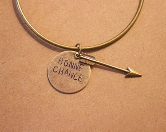"""DISCOUNTED!/ French quote/ """"Bonne Chance""""/ Good luck/ Bangle/ Bracelet/ Arrow charm"""