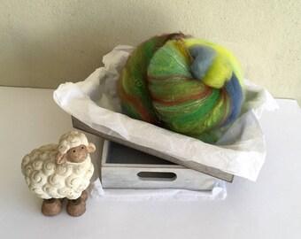 Norway Summer, OOAK textured art batt for spinning, weaving or felting, 35g
