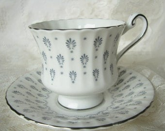 Demitasse Paragon Regency Print Paragon Coffee cup saucer White gray cup saucer Small tea cup Vintage Demitasse Gift for her Replacement cup