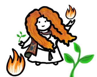 Goddess Brigid, Brigid's Flame, Imbolc planner sticker sheet (CGg1)