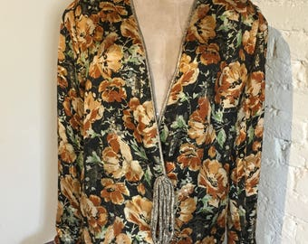 1920s Floral Lamé Evening Jacket with Gold Trim