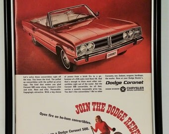 1967 Dodge Coronet 500 Convertible Original Full Page Magazine Print Ad Vintage 1966 60s