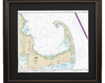 Framed Nautical Chart - Cape Cod Bay; NOAA13246