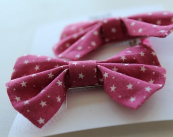 Set of 2 | Pink Star | Traditional Bow Clips
