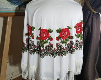 Polyester Fringed  Shawl Scarf with Red Flowers