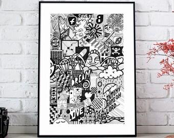 B/W illustration - Giclée Fine art print