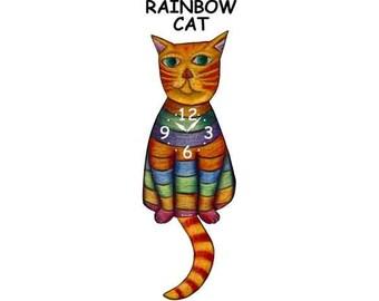 rainbow cat clock